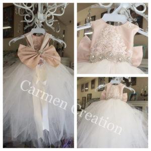 0d1d58a866f Mini Bride Flower Girl Dress Blush Ivory