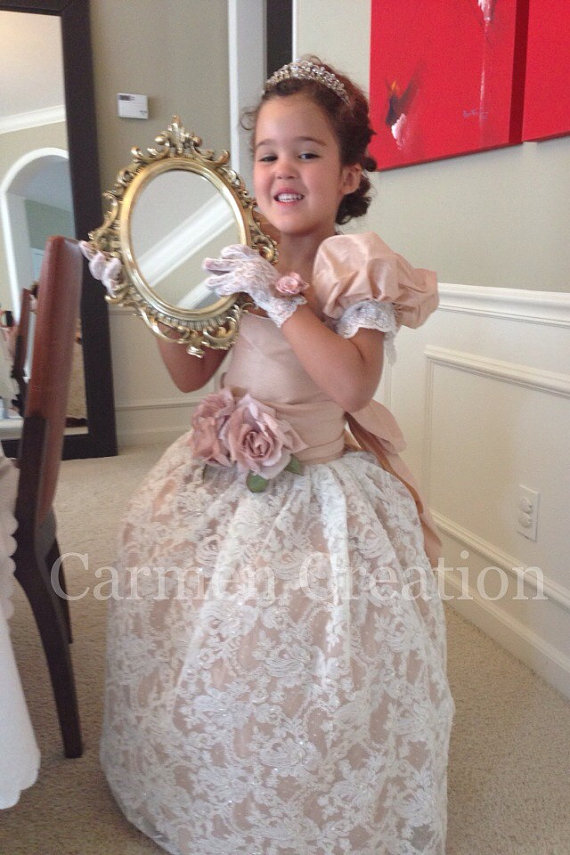8d0fe60167 Beautiful Blush Venetian Flower Girl Dress - Carmen Creation
